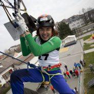 Maja Šuštar in Katja Brunec v finalu EP v lednem plezanju Domžale 2018